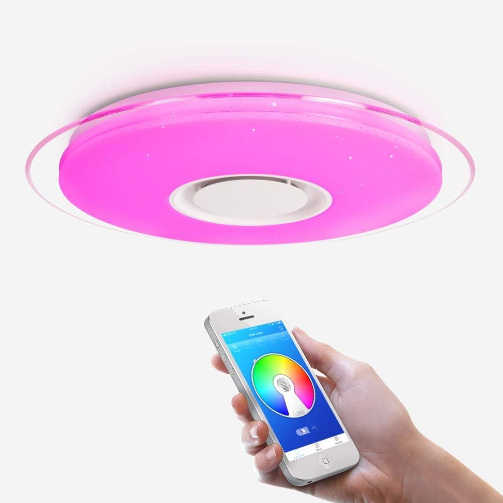 OFFDARKS - Plafóns LED Lámparas de Techo con Altavoz Bluetooth, APP Mando a Distanci + brillo ajustable + color change (B - 52W ⌀550MM Redondo)