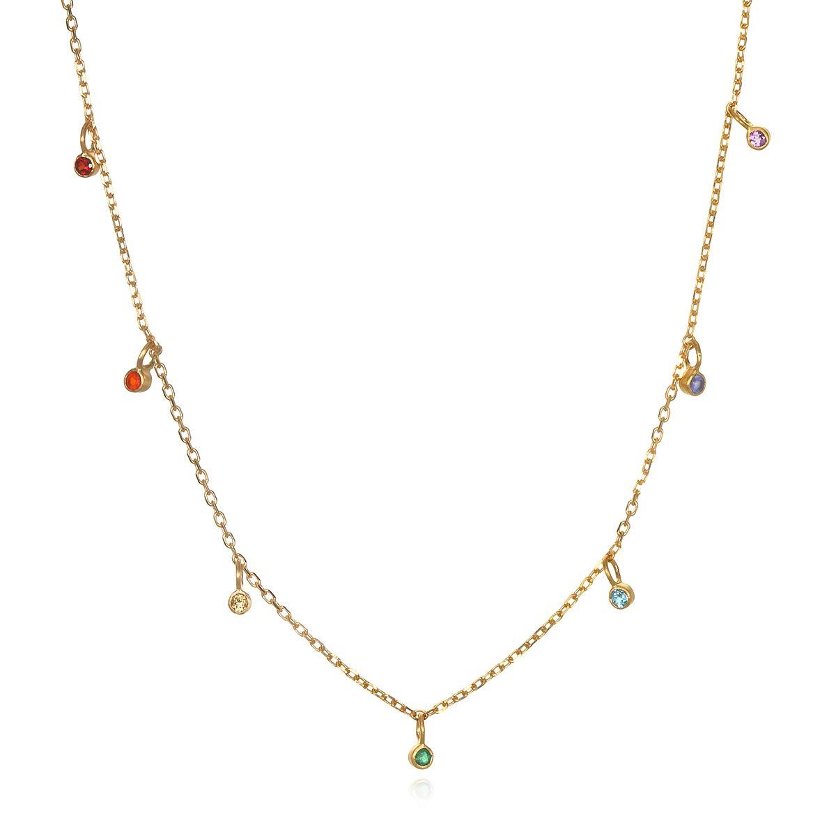 Satya Jewelry Multi Gemstone Gold Chakra Choker Necklace (14 Inch +2 Inch Ext), Multi, One Size