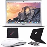 Apple 13.3' MacBook Air Laptop Computer 256GB (MMGG2LL/A) + Apple Wireless Bluetooth Magic Mouse + 2 in 1 Soft-Touch Case & Silicone Keyboard Cover for Apple Macbook Air 13-inch 13' (Black) Bundle