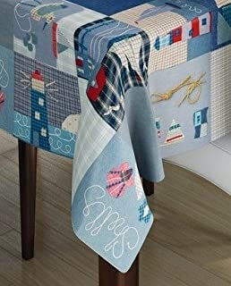 140x140cm SQUARE PVC/VINYL TABLECLOTH   BLUE PATCHWORK BOATS / NAUTICAL