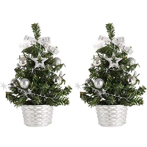 WAOBE Desktop Christmas Tree Decoration, Mini Artificial Trees Christmas Decorations for Home Xmas Gift, (20 cm, 30 cm, 40 cm),Silver,40Cm