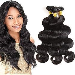 8A Brazilian Virgin Hair Extension Body Wave 3 Bundles 3.52oz/bundle (100+/-5g)/pc 16'' 18'' 20'' Remy Human Hair Weaves Brazilian Hair Bundles Body Wave Natural Black Color 1B For 16inch 18inch 20inc
