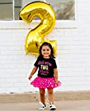 2nd Birthday Outfit Girl, Little Miss Two Much Shirt, Black Gold Hot Pink
