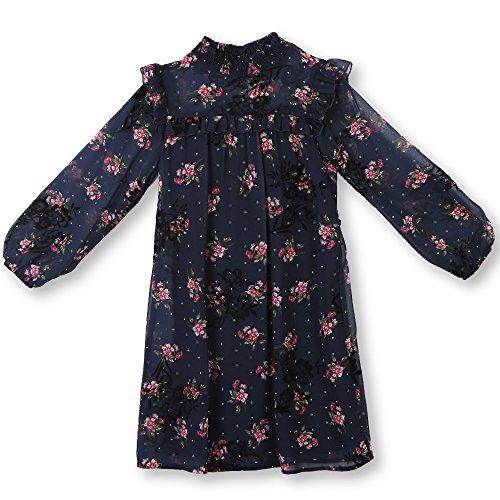 Speechless Girls' Big 7-16 Tween Chiffon Dress with Flocking, Navy Berry, 16