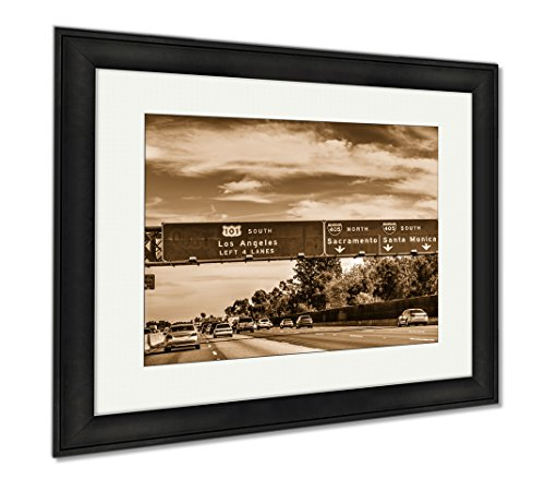 Ashley Framed Prints 101 Freeway In Los Angeles California USA, Wall Art Home Decoration, Sepia, 26x30 (frame size), Black Frame, - Los South Street Angeles