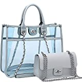 Dasein 2-in-1 Classic Clear Transparent Tote (Blue)