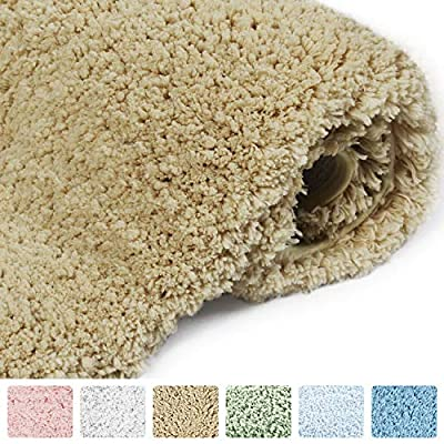 "Norcho Bathroom Mat Soft Rug Door Mat Water Absorbent Antibacterial with Anti Slip Rubber Back Luxury, 31""x19"", Khaki - ★ Against The Cold. This is just what you need to protect your feet from the cold floor at the same time you protect your bathroom floor from moisture. ★ Soft Non-Skid Ruber. Rubber backing with powerful gripping technology to prevent slippage, this large polyester rug is easy care. ★ Super Water Absorption. It's constructed with soft microfiber, soft fiber pile make it possible to absorb water rapidly. Do not need to bother with the absorption anymore. - bathroom-linens, bathroom, bath-mats - 51xfrPR4WNL. SS400  -"