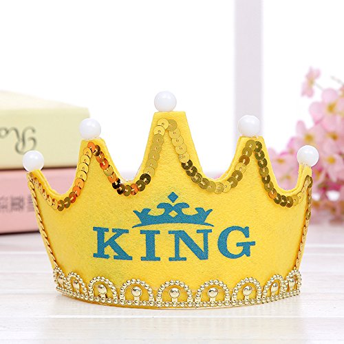 OWIKAR LED Light Up Crown Party Hat Letter Printed Party Supplies Accessories Birthday Party Rave Tiara Costume Accessories Hats For Kids (Yellow- (Halloween Cupcakes Decorations Uk)