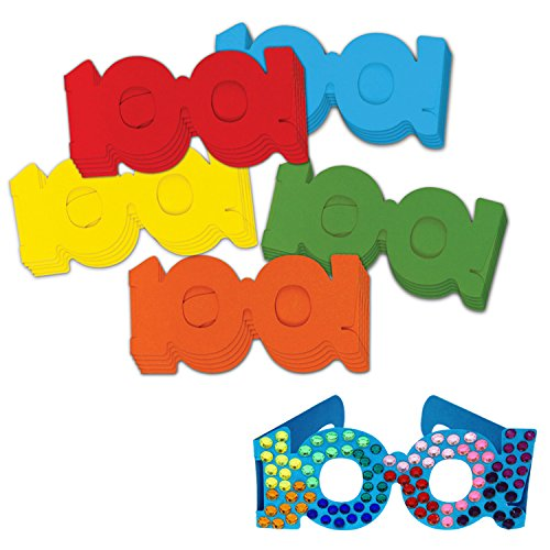 Chenille Kraft 100 Days Paper Glasses, 5 Colors, 25-Piece