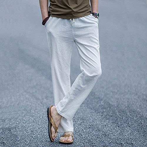 Elásticos Verano Blanco Lino De Casuales Pantalones Clásico Largo Casual Playa Hombres Los Chicos xOvnnqwCH7