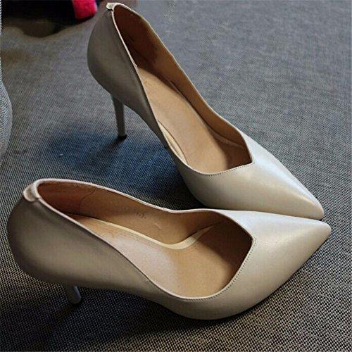 HXVU56546 La Nueva Punta Del Alto Talón Zapatos Bien Con La Primavera Y El Otoño, Los Pequeños Zapatos De Mujer Zapatos De Trabajo Solo Zapatos Boca Superficial creamy-white