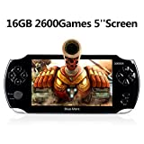 Handheld Game Console, 16GB5 Screen 2600 Classic Games, Portable Video Game Console,Support /GBA / GBC / NES / BIN / SMC, The best birthday gift and for kids– Black
