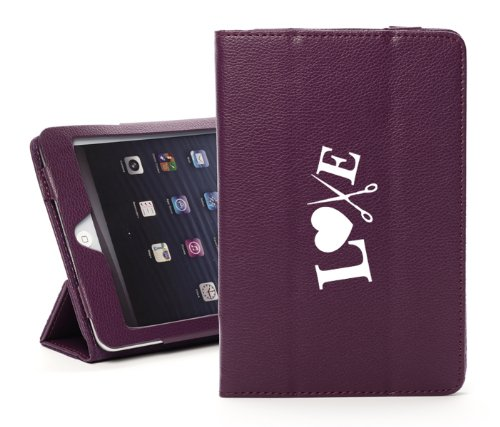 For Apple iPad Air 2 Purple Faux Leather Magnetic Smart Case Cover Love Hair Cutting Scissors Crafts