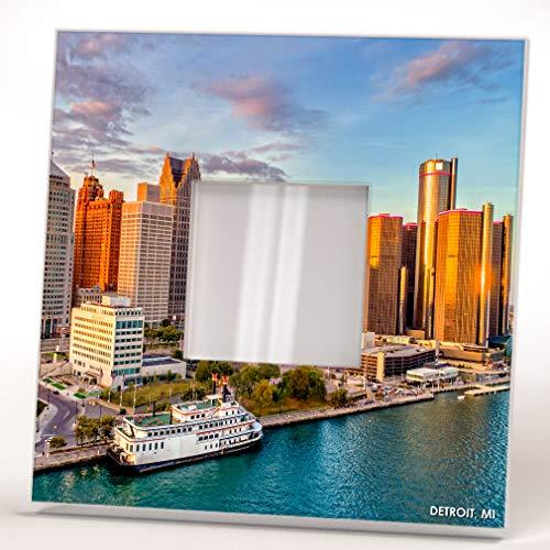 Downtown Skyline Detroit City Michigan View Wall Framed Mirror Decor Fan Art Home Design for Gift