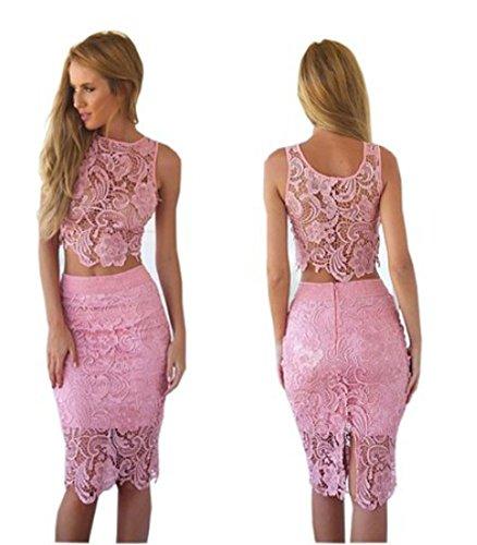 Pink 2 Piece Skirt Dress - 8