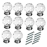 WOTOY 10 Packs Aluminum Alloy Sphere Crystal Cabinet Knobs 30mm Diamond Shape Drawer Cabinets Dresser Cupboard Wardrobe Pulls Handles
