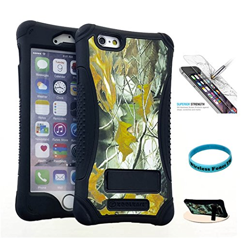 iPhone 6S Case, Wireless Fones 2 Layer Slim Hybrid Case Dry Leaf Camo Mossy with Kickstand & Glass Screen Protector for iPhone 6 / 6S (Kickers Camo)