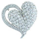 Sindary Wedding 2.76'' Clear Austrian Crystal Pendant Love Heart Brooch Pin