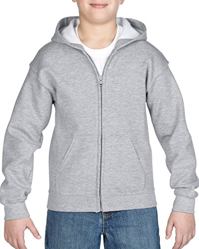 Gildan Little Kids Full Zip Hooded Youth Sweatshirt, Sport Grey, (Medium Zip Hoodie Sweatshirt)