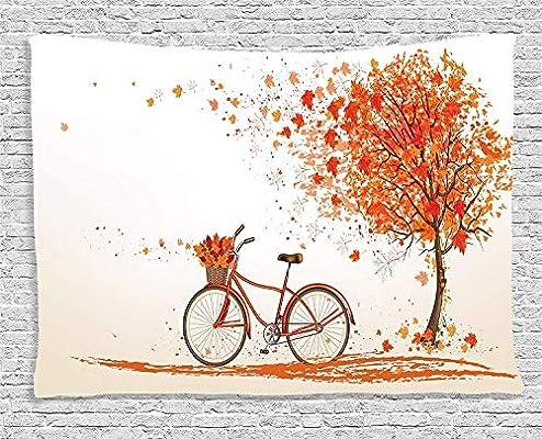 GUDOJK Tapiz Bicicleta Tapiz Árbol de otoño con Aged Old Bike y ...