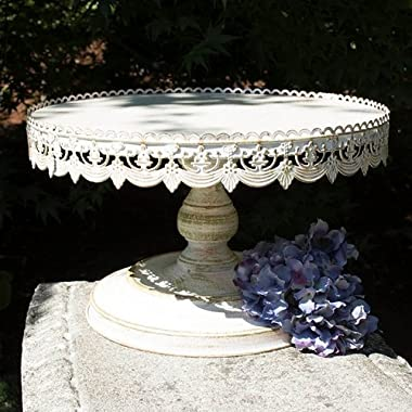 Metal Cake and Dessert Stand, 16 inch Diameter, Vintage White