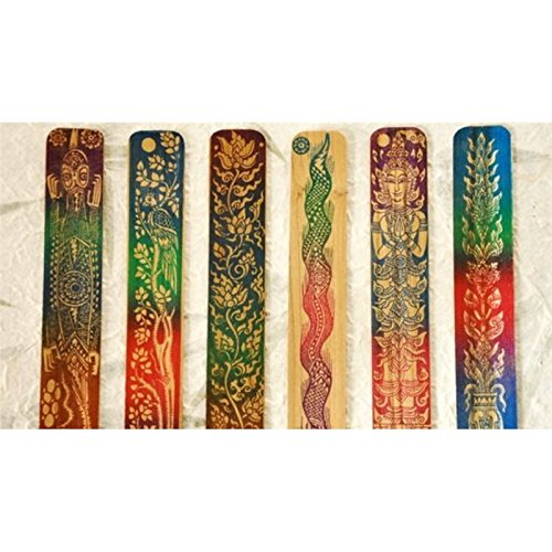 Creative Scrapbooking 5Pcs Thai Style Handmade Carving Natural Wood Bookmarks Art Decor Random Pattern