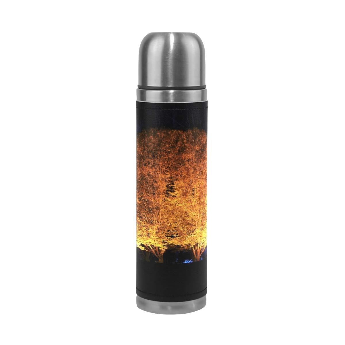Nature Forest Light Wood Night Countryside 500ML Stainless Steel Double Walled vacuum insulated water bottle Travel Mug Leather Cover Thermos 17 oz