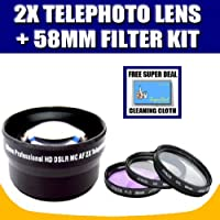 2x Digital Telephoto Professional Series Lens (58MM) For Olympus E-400, E-330, E-30, E-3, E-300, E-1 Digital SLR Cameras (14-42mm, 40-150mm, 70-300mm) Olympus Lenses with Exclusive FREE Complimentary Super Deal Micro Fiber Lens Cleaning Cloth