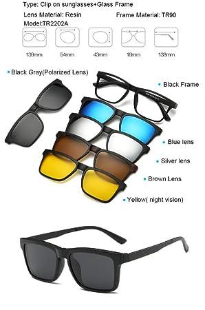 MOLUO Gafas de Sol TR90 Clip On Sunglasses Hombres Clip ...