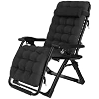 Zero Gravity Chair,with Pillow + Cushion, Foldable Adjustable Lounge Chair with Headrest, Suitable for Courtyard, Beach…