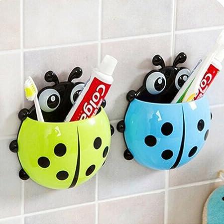 Ladybug Toothbrush Holder Suction Ladybird Toothpaste Wall Sucker Bathroom Sets Blue Jhtceu