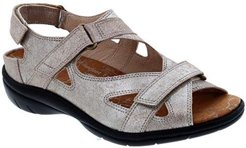 Scarpa Drew Laguna Donne Terapeutico Diabetica Profondità Supplementare Velcro Pelle Sandalo Champagne / Metallico