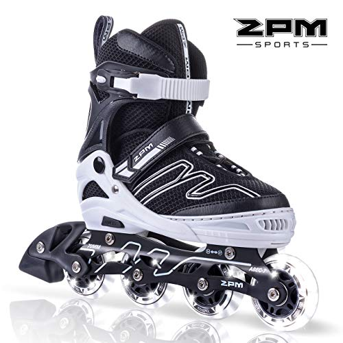 (2PM SPORTS Exthrax Kids Adjustable Inline Skates with Light up Wheels, Fun Flashing Illuminating Roller Skates for Boys Girls - Medium(1-4 US))