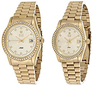 Eliz His and Her Off White Dial Stainless Steel Band Watch - 8265