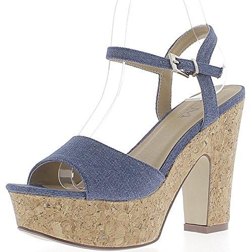 Sandales jean bleues à gros talon de 12,5cm et plateforme épaisse