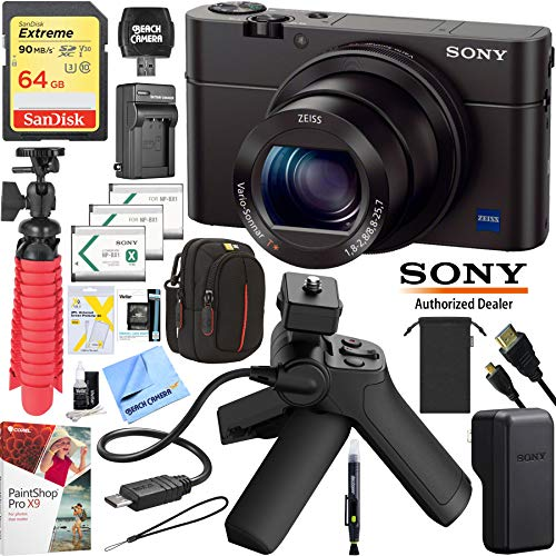 Sony Cyber-Shot DSC-RX100M3 III Mark 3 20.2 MP Compact Digital Camera with F1.8 Zeiss Vario-Sonnar T 24-70mm Lens with Grip and Tripod Case Memory Card Spare Battery Bundle