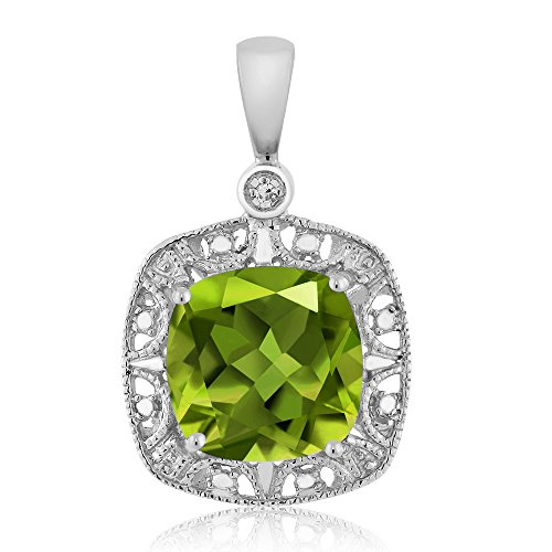 (Gem Stone King 10K White Gold Women's Cushion Green Peridot and Diamond Accent Pendant Necklace (2.45 cttw, 8MM Center))
