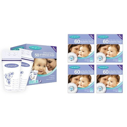 Lansinoh Breastmilk Storage Bags (50 Pieces) and Disposable Nursing Pads (4 x 60 Piece packs)