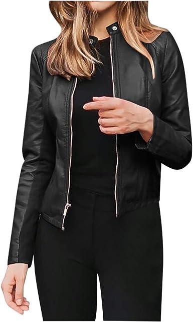 Womens Ladies Stylish Jacket Blazer Slim Fit PU Leather Punk Suit Casual Coat 16