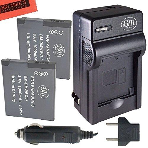 BM Premium 2-Pack of DMW-BCL7 Batteries and Battery Charger for Panasonic Lumix DMC-SZ3, DMC-SZ8, DMC-SZ10, DMC-XS1, DMC-FH10, DMC-F5 Digital Camera (Lumix Sz10)