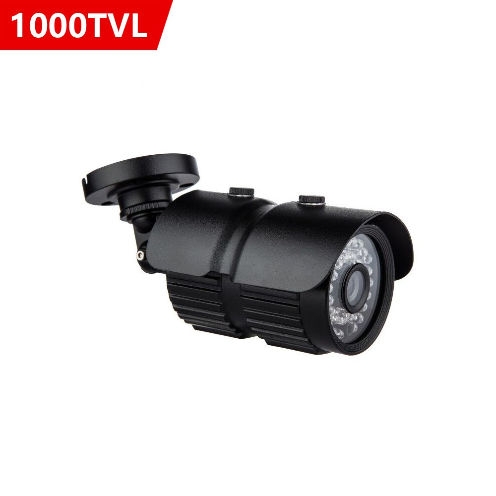 CANAVIS HD 1000TVL CCTV Camera 3.6mm Lens with IR Night Vision Outdoor/Indoor Waterproof Security Bullet Camera,Aluminum Metal Housing(Black)