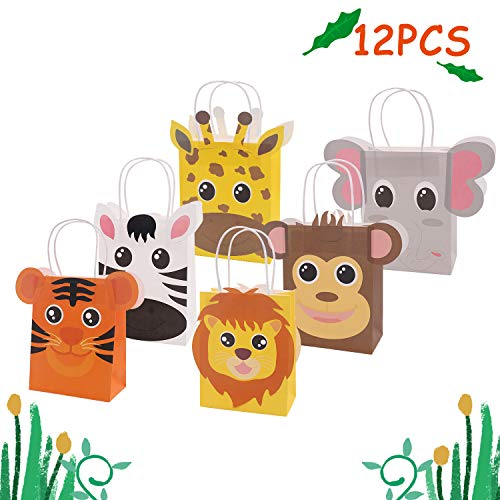 Jungle Safari Favor Bags Zoo Animals Birthday Treat Goody Bags for Kids Baby Jungle Party Favor Decorations Supplies Pack of 12 ()