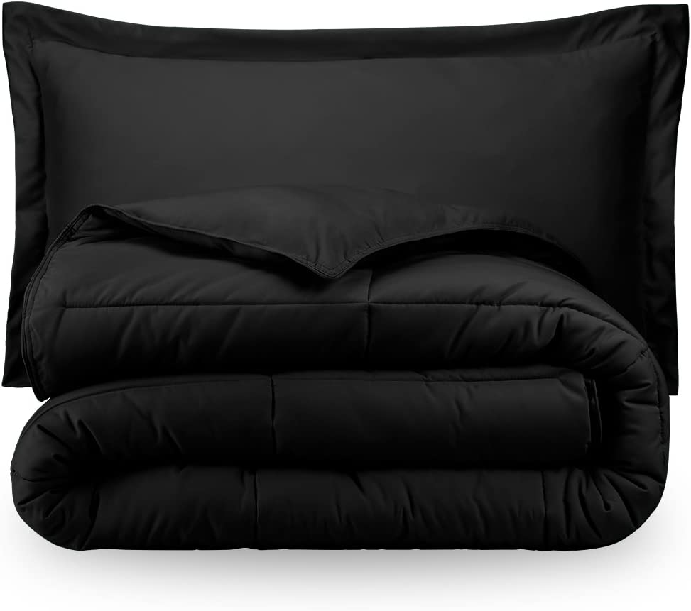 Ivy Union Black Solid Down Alternative Comforter & Pillow Sham Cover Set Twin