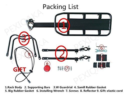 PEXIQAKA Bike Carrier Rack 110 LB Capacity Solid Bearings Universal Adjustable Bicycle Luggage Cargo Rack by PEXIQAKA (Image #1)