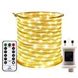 RcStarry 10M 100 LED Rope Lights, 8 Modes, Timer, Remtoe, Plug in Indoor Outdoor String Lights, Warm White, IP65 Waterproof Fairy Lights for Garden, Patio, Deck, Landscape Lighting, Bedroom and More
