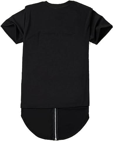 ROYEW Camisas para Hombre con Cremallera Trasera Hipster Hip Hop extendido Cuello Redondo Swag Camisa