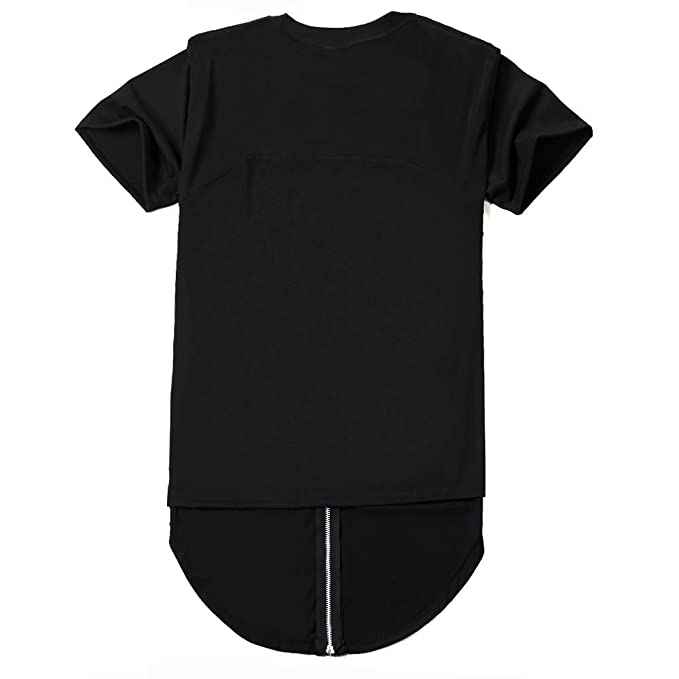 71d5dde7f2fe ROYEW Shirts Mens Back Zipper Hipster Hip Hop Extended Crewneck Swag  Shirt(Black