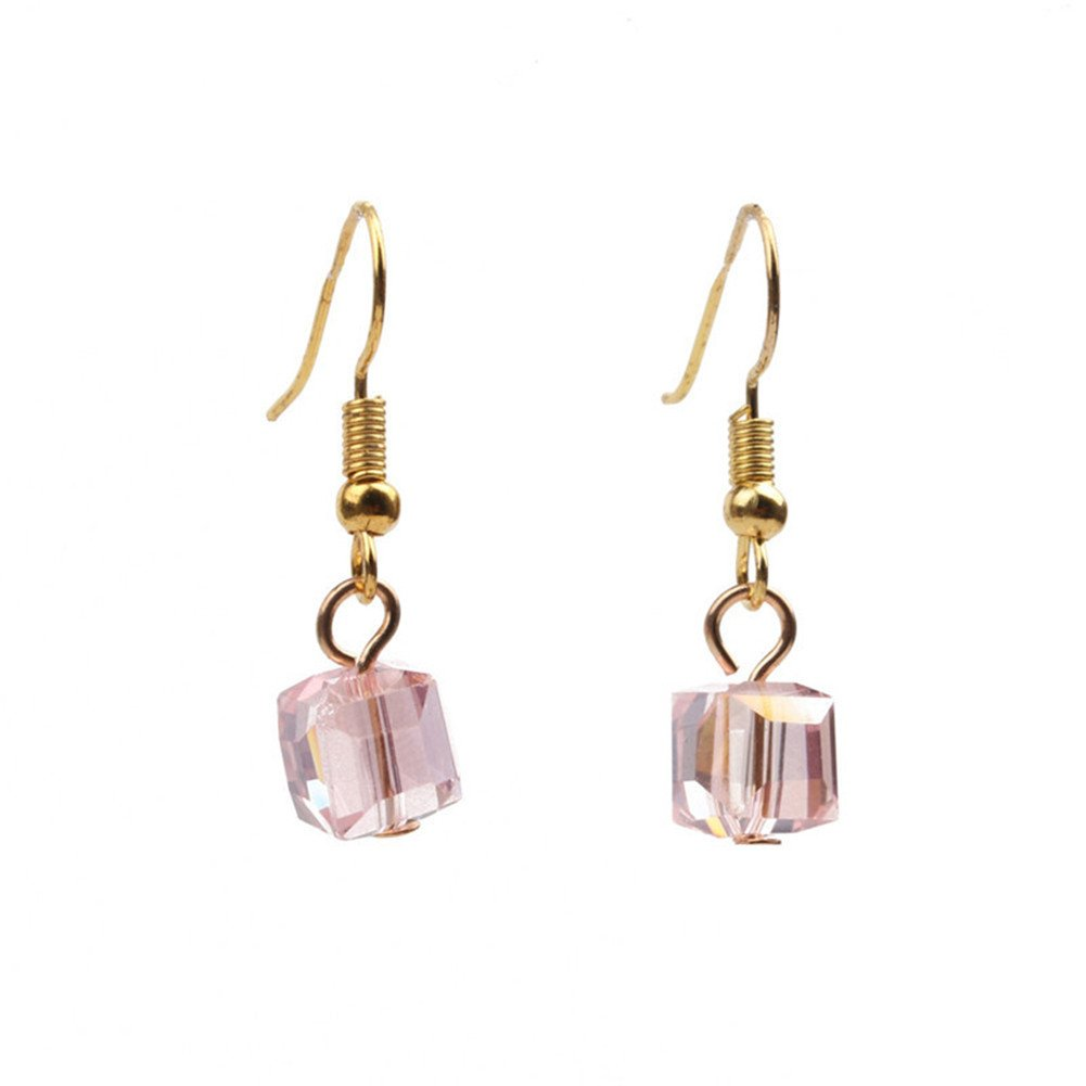 18K Gold Plated Vintage Pink Crystal Square Cube Charm Dangle Drop Earring