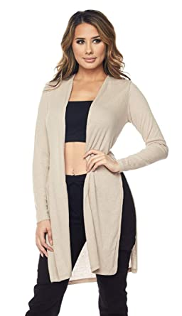 681335d718 Long Ribbed Side Slit Cardigan in Regular and Plus Sizes (S-3XL) at ...