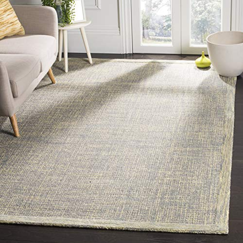 (Safavieh Abstract Collection ABT220B Contemporary Handmade Gold and Grey Premium Wool Area Rug (6' x 9'))